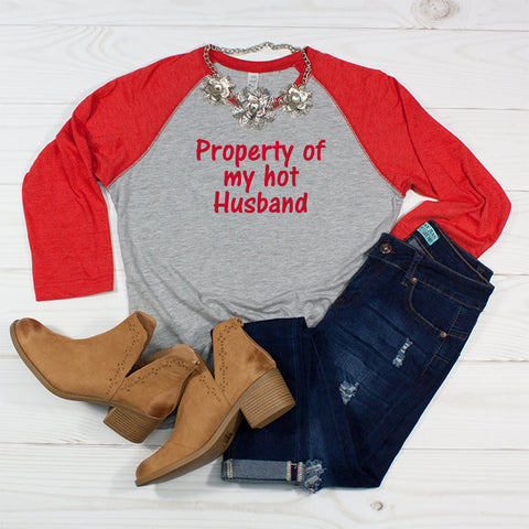 Property of my hot Husband - Women's Valentine's Raglan