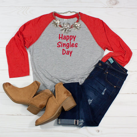 Happy Singles Day - Women's Valentine's Raglan