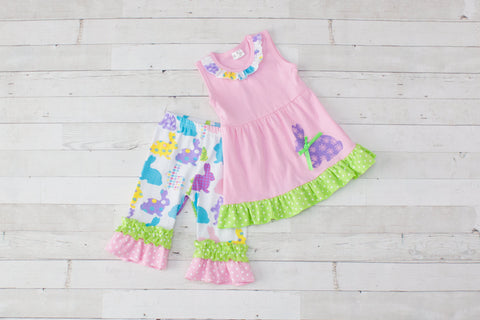 Girls Pink & Lime Bunny Print Sleeveless Easter Outfit - Top & Pants