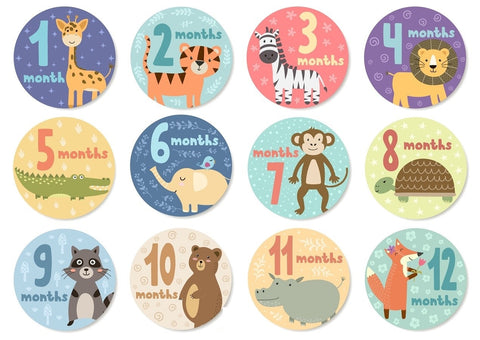 Baby Monthly Stickers - Cute Animals