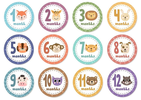 Baby Monthly Stickers - Animal Faces