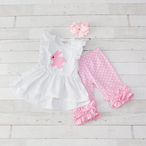 Girls White & Pink Bunny Print Sleeveless Easter Outfit - Top & Pants