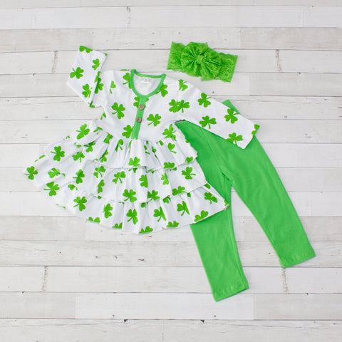 Green Clover Button-Front Tee Set - Top & Pants