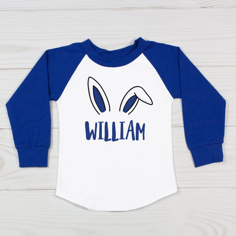 Bunny Ears - Boys Personalized Raglan T-Shirt