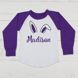 Bunny Ears - Girls Personalized Raglan T-Shirt