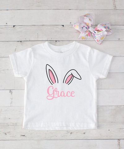 Easter Bunny Ears Personalized Graphic T-Shirt Set with Hair Bow - 9  Colors