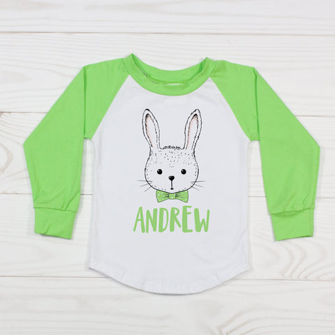 Hipster Boy Easter Bunny Bow Tie - Personalized Raglan T-Shirt