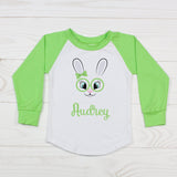 Easter Bunny with Glasses - Girls Personalized Raglan T-Shirt