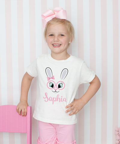 Cute Bunny Face with Glasses - Girls Personalized T-Shirt Set with Hair Bow - 6 Colors