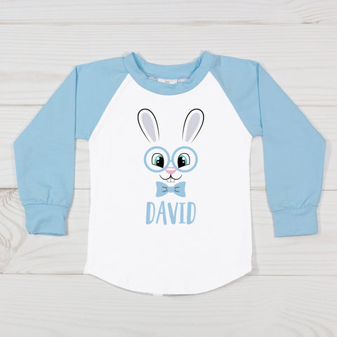 Easter Bunny with Glasses - Boys Personalized Raglan T-Shirt