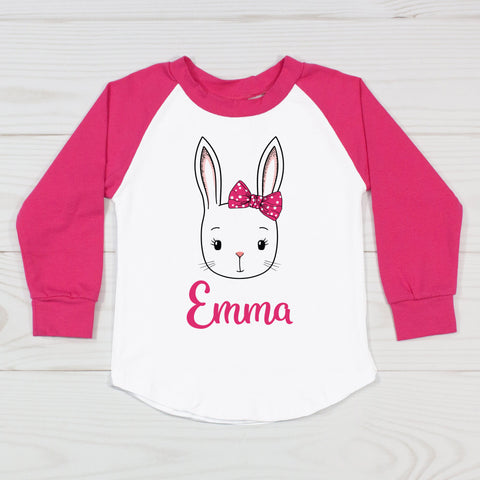 Easter Bunny with Polka Dot Hair Bow - Personalized Raglan T-Shirt