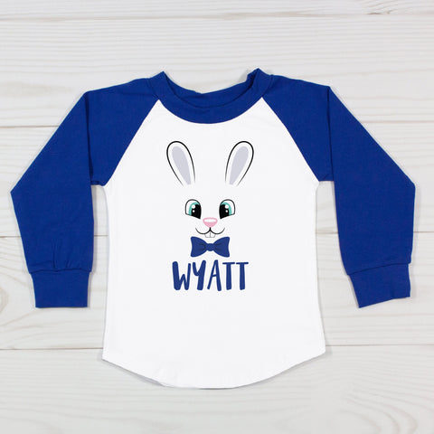 Cute Boy Easter Bunny Face with Bow Tie - Personalized Raglan T-Shirt
