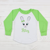 Cute Girl Easter Bunny with Hair Bow - Personalized Raglan T-Shirt