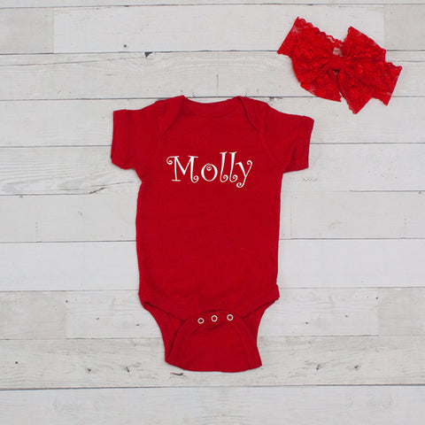 Personalized Red Bodysuit and Bow Headband