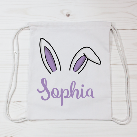 Drawstring Easter Bunny Ears Canvas Bag