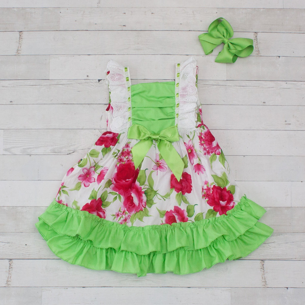 e0ce509f8 Girls Hot Pink Floral Print with Lime Green Trim Ruffle Dress ...