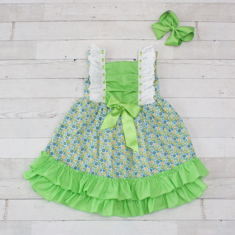 Girls Lime & Yellow Floral Print with Lime Green Trim Ruffle Dress