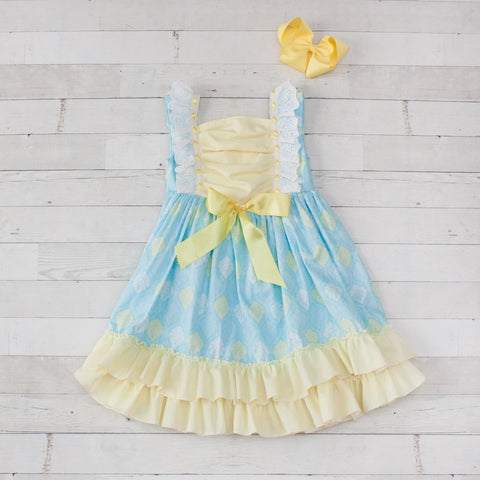 Girls Light Blue & Yellow Floral Print with Yellow Trim Ruffle Dress