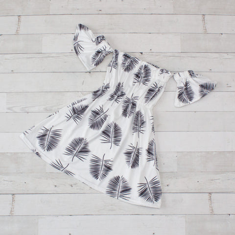 Feather Print Off the Shoulder Dress