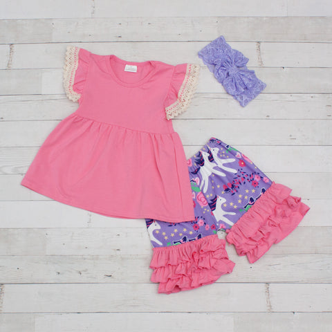 Pink & Lavender Unicorn 2 Piece Outfit - Top & Shorts