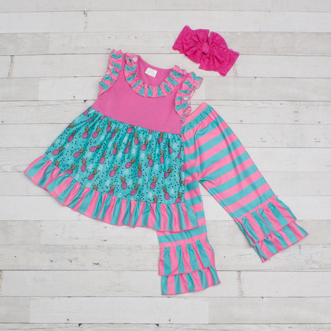 Girls Teal & Pink Pineapple Print Outfit - Top & Pants