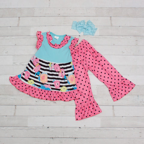 Girls Multicolored Floral Print & Polka Dot Sleeveless Outfit - Top & Pants