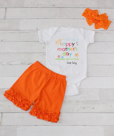 Happy Mother's Day Personalized - 3pc Bodysuit and Orange Short Set