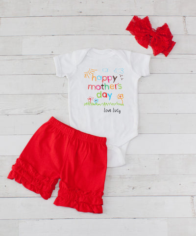 Happy Mother's Day Personalized - 3pc Bodysuit and Red Short Set