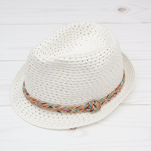 Women's White Fedora with Multi Color Band