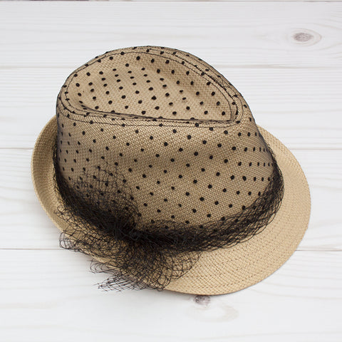 Women's Tan Fedora with Black Lace Overlay