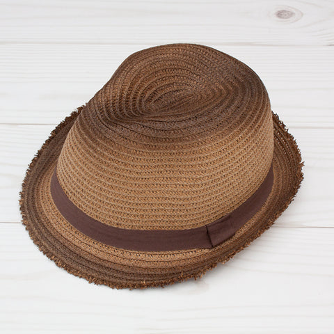 Women's Brown Fedora with Tattered Edge