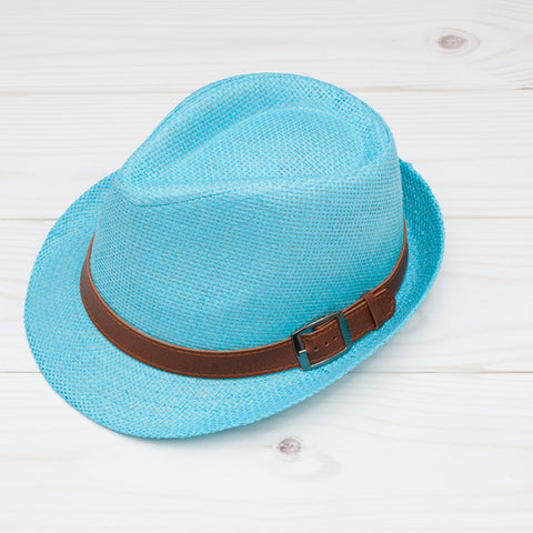 Women's Turquoise Fedora with Brown Band