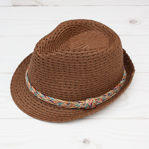 Women's Carmel Fedora with Multi Color Band