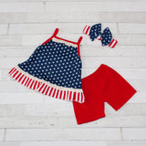 Girls Patriotic Tank Top & Short Set - Blue With White Stars & Red/White Trim