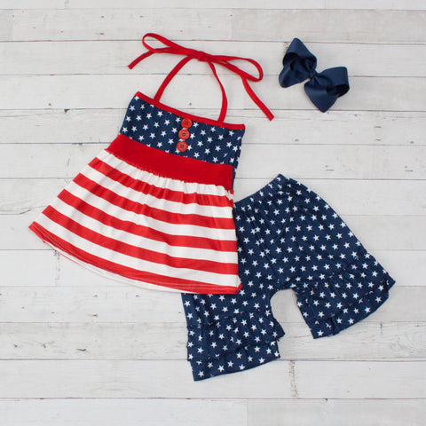 All American Girl Top & Matching Short Set - Red, White & Blue Stars & Stripes