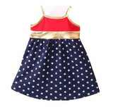 Girls Patriotic Dress - Navy Blue With White Stars & Gold Trim