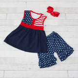 Girls Patriotic Top & Matching Short Set - Red, White & Blue Stars & Stripes