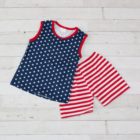 Boys Patriotic Tank Top & Matching Short Set - Red, White & Blue Stars & Stripes
