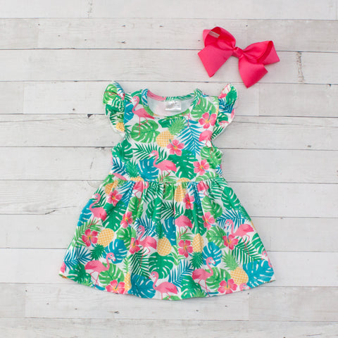 Girls Multicolored Floral Print Sleeveless Dress