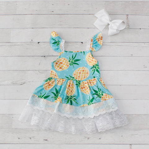 Girls Pineapple Print Dress with Lace Trim