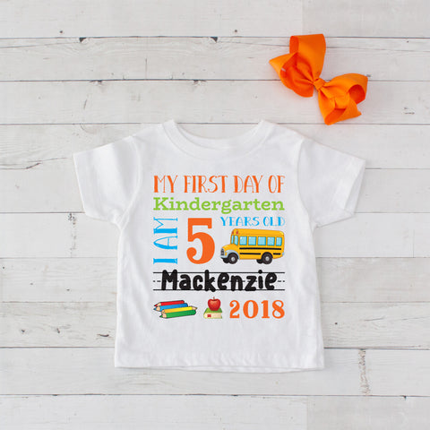 My First Day of Kindergarten Personalized Graphic T-Shirt Set Orange