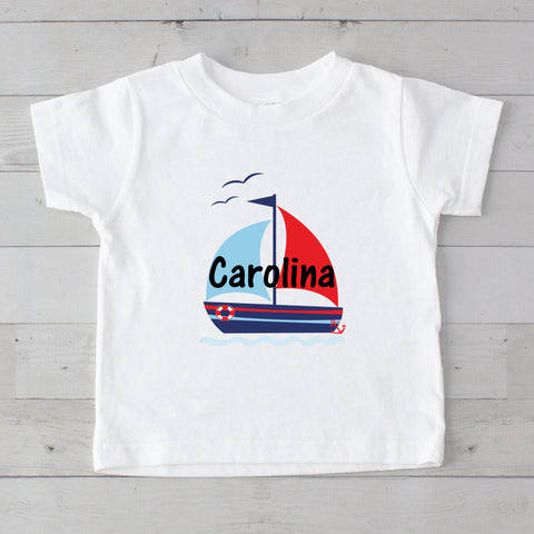 Out To Sea Sailboat Personalized Graphic T-Shirt