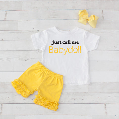 Just Call Me Babydoll - 3pc Shirt and Short Set