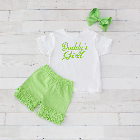 Daddy's Girl Lime - 3pc Shirt and Short Set