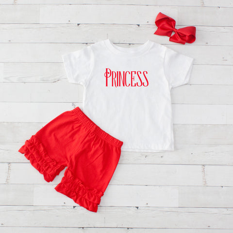 Red Princess - 3pc Shirt and Short Set