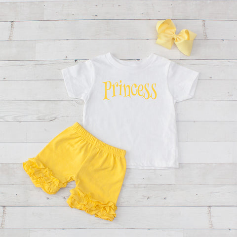 Yellow Princess - 3pc Shirt and Short Set