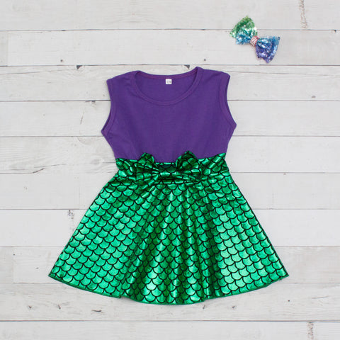 Girls Purple & Green Mermaid Dress