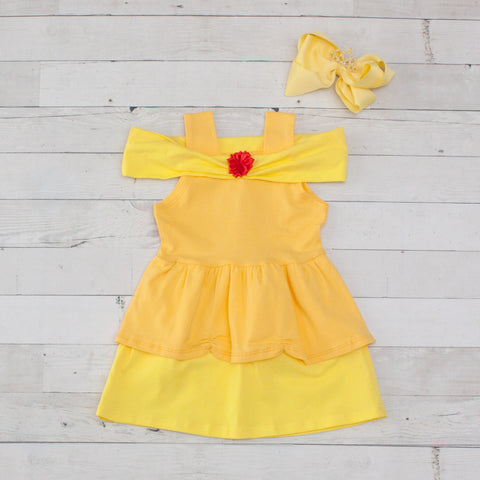 Girls Character Inspired Yellow Belle Dress