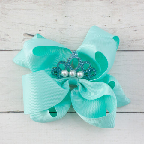 "6"" Grosgrain Jeweled Crown with Pearls Hair Bow Clip"