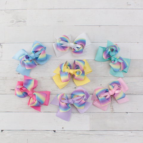 Pastel Rainbow Double Bow Grosgrain Hair Bow Clip